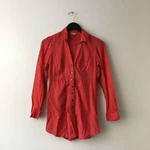 Anthropologie Odille Button Shirt Blouse Red 0 XS